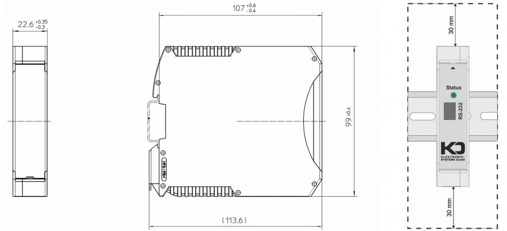 Gehäuse Abmessungen und einzuhaltender Einbauabstand oben und unten