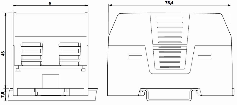 Ausführung im Gehäuse Breite a = 35,7 mm, ohne Achse gezeichnet