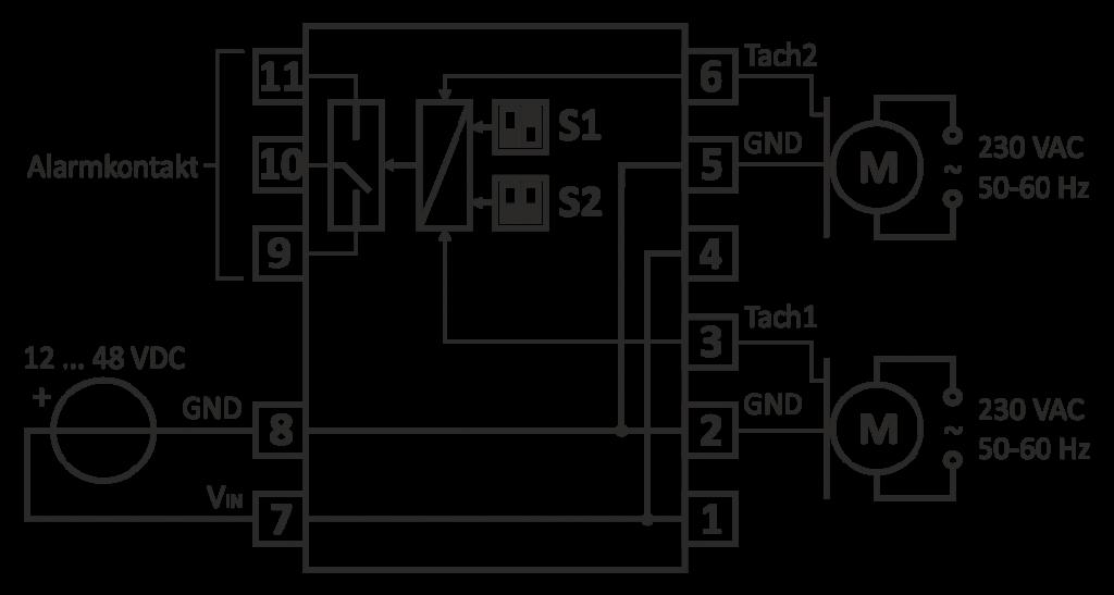 Typisches Anschluss-Schema für AC-Lüfter