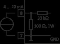 Schaltbild zum Anschluss eines 4 … 20 mA Signals