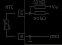 Schaltbild zur Beschaltung des Eingangs bei Anschluss eines NTC