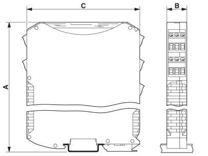 Gehäusezeichnung, Maße: A = 70,4 mm, B = 17,5 mm, C = 85,0 mm