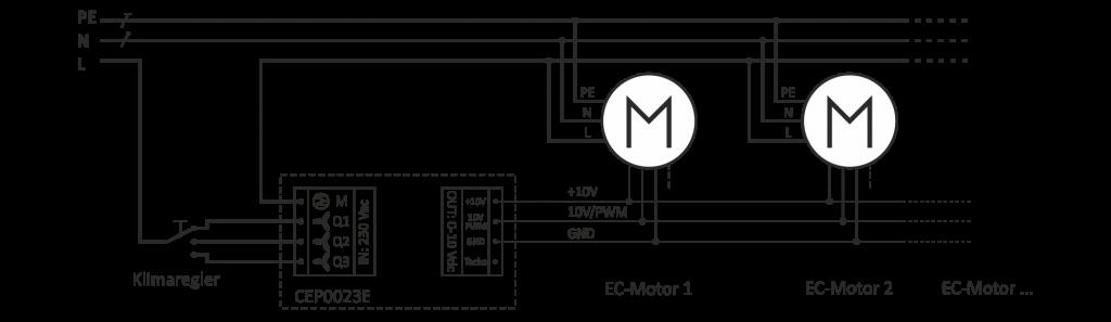 Klemmplan für parallele Verschaltung von Motoren (Gebläsen) an einem Interface und Klimaregler