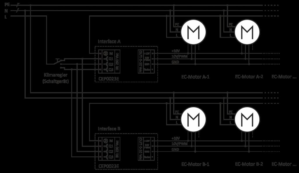 Klemmplan für parallele Verschaltung von Interfaces mit Motoren (Gebläsen) an einem Klimaregler