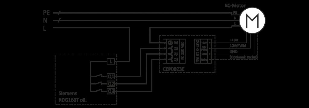 Klemmplan für automatischen Klimaregler (z.B. Siemens RDG160T)