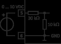 Schaltbild zur Beschaltung des Eingangs bei Anschluss eines 0 … 10 V Signals