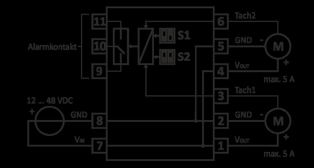 Typisches Anschluss-Schema für DC-Lüfter