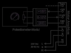 Anschlussschema Potentiometer-Modul mit AC Motor